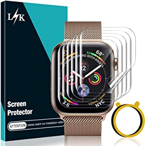 LϟK 6 Pack Screen Protector Compatible for Apple Watch 40mm Series 6 5 4 / Apple Watch 38mm Series 3 2 1 with Circle Installation Tool, Full Coverage Flexible Soft TPU for iWatch