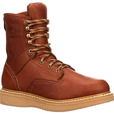 Georgia Boot Men's 8 Inch Wedge Work Shoe, Barracuda Gold, 8 M US | Industrial & Construction Boots