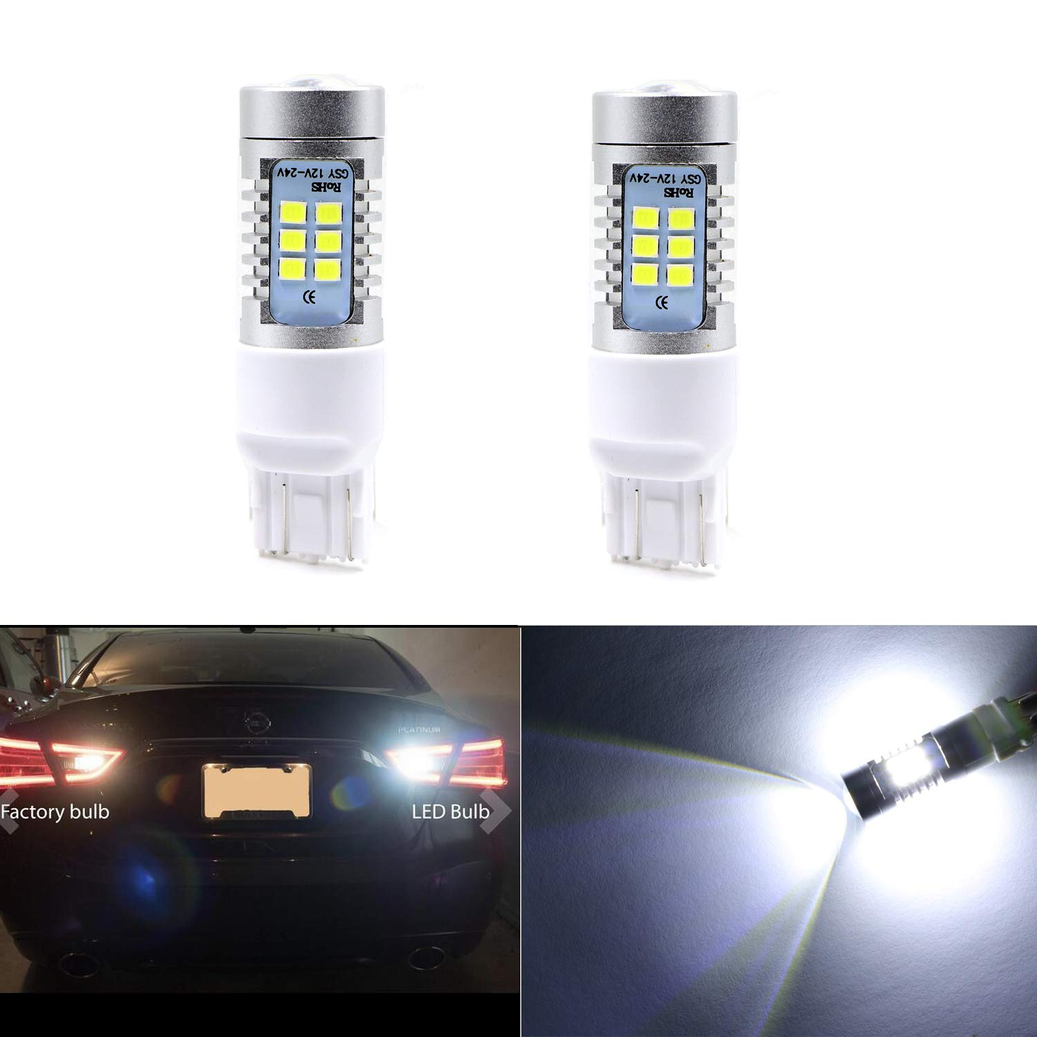Extremely Bright LED Back Up Lights Reverse Lights 7440 7441 7443 7444 w/21 SMD Bulbs, White-6000K (Pack of 2) Youxmoto