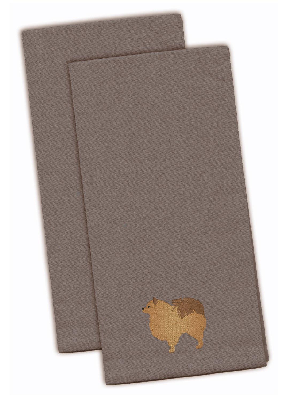 Set of 2 Multicolor 28 x 19 Carolines Treasures BB3435GYTWE Lowchen Gray Embroidered Kitchen Towel