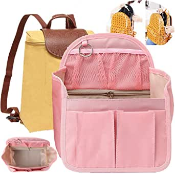 (New 3rd UPGRADE) Nylon Rucksack Organizer Insert, Diaper Backpack Organizer,Backpack Organizer Insert, Women Backpack For Mummy Coach MCM LV JanSport Anello, Small Large (Small, Pink)