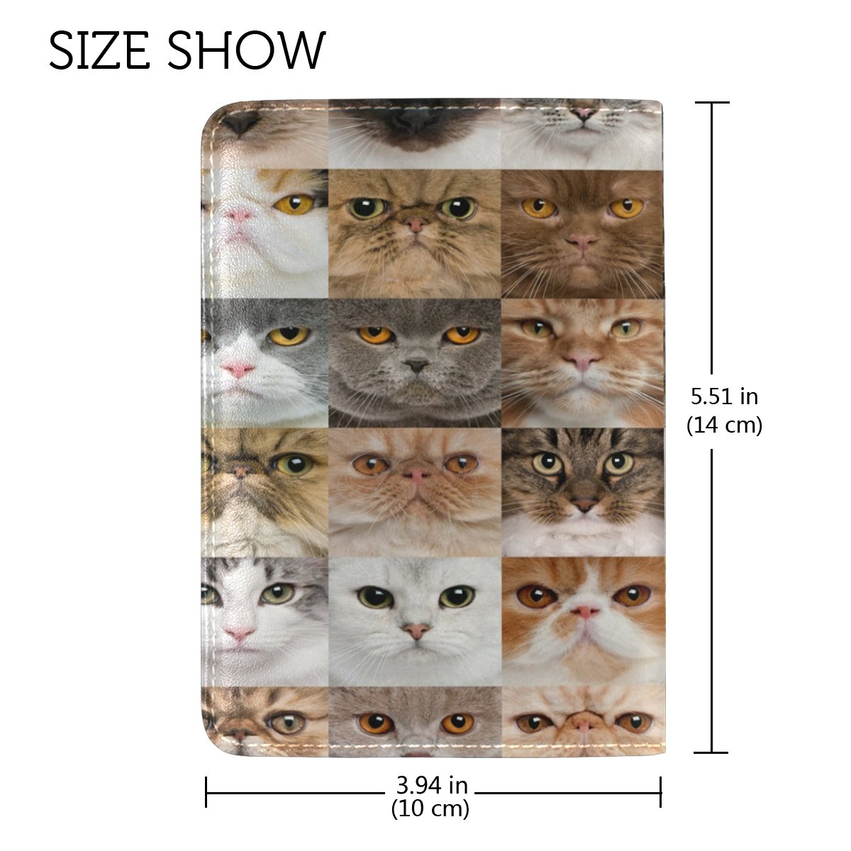 ALAZA Hipster Cat Head Leather Passport Holder Cover Case Travel One Pocket