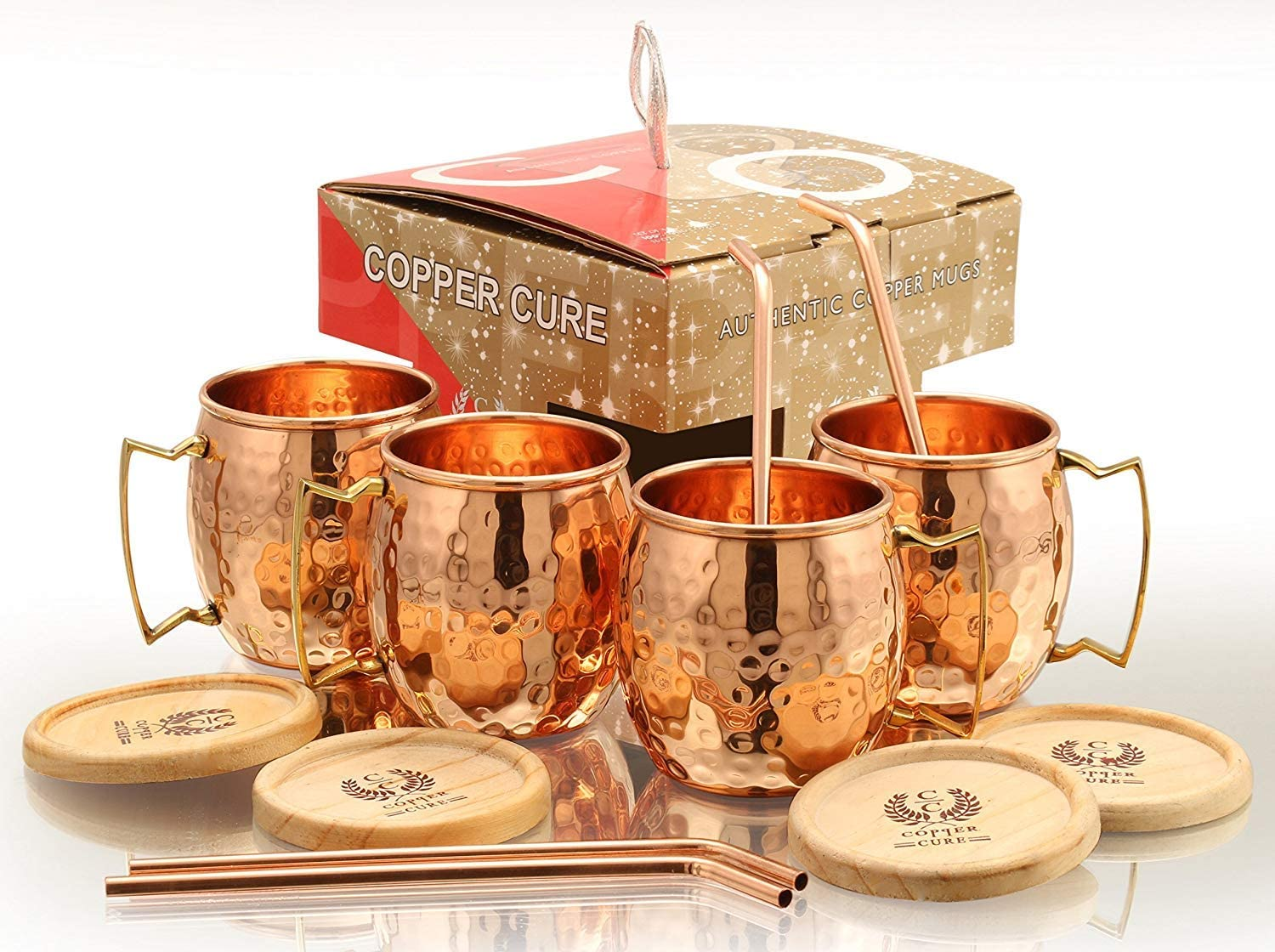 Gift Set of 4 Moscow Mule Copper Mugs with Copper 1 Shot Glass 16oz Solid Hammer