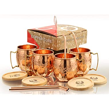 Moscow Copper Mugs - Set of 4 (Gift Set) 16 Oz -Solid Copper Mugs – 100% Handicrafted - Pure Copper Mug - Copper Cups With BONUS Copper Straws & Coasters by Copper Cure