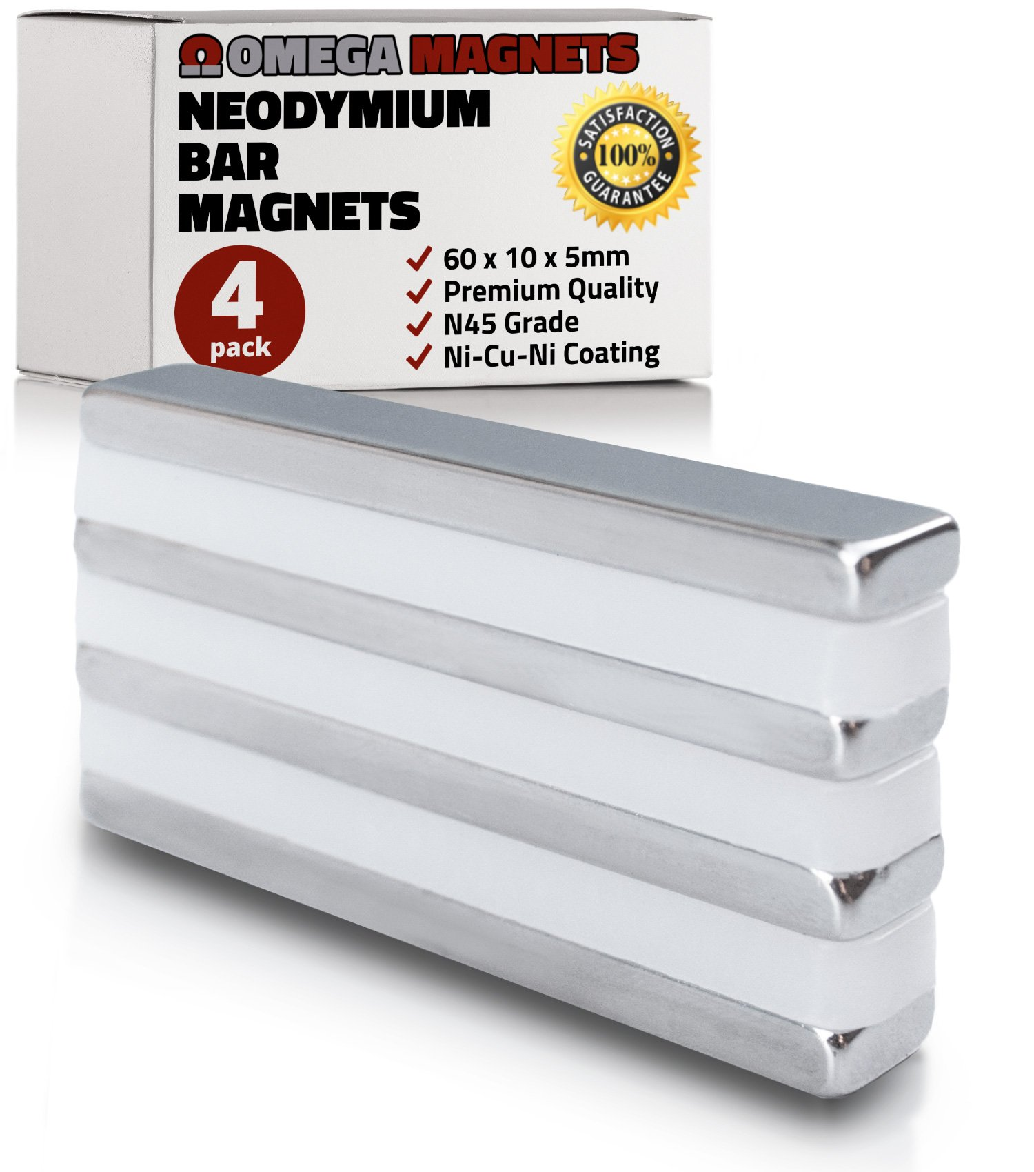 Strong Neodymium Bar Magnets (4 Pack) - Powerful, Rectangular Rare Earth Magnets - N45 Industrial Strength NdFeB Block Magnet Set for Misti, DIY, Crafts - 60 x 10 x 5mm