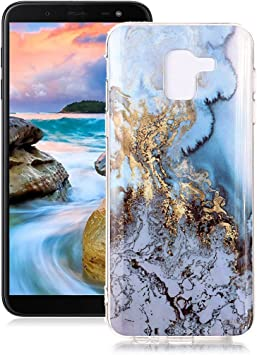 Coque Samsung Galaxy J6 2018 Marbre, Yunbaoz Marble Case Mer Bleue