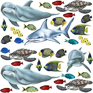 Walls of the Wild Sea Creatures and Tropical Fish Wall Decals Collection (Economy Size 48 in. x 48 in.)