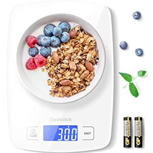Geekclick Digital Food Kitchen Scale, Weight Grams & Oz for Baking, Cooking, Meal Prep, and Weight Loss, 1g/0.05oz Precise Graduation, Easy Clean Tempered Glass-White