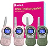 Qniglo Walkie Talkies for Kids Rechargeable, 4 Pack Kids Walkie Talkies with Charger 22 Channels, Best Gifts Toys for 3…
