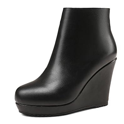 584b546422fb ANNIESHOE Bottines Femme Cuir Plateforme Compensées Noir 35CN 35EU 22.5cm