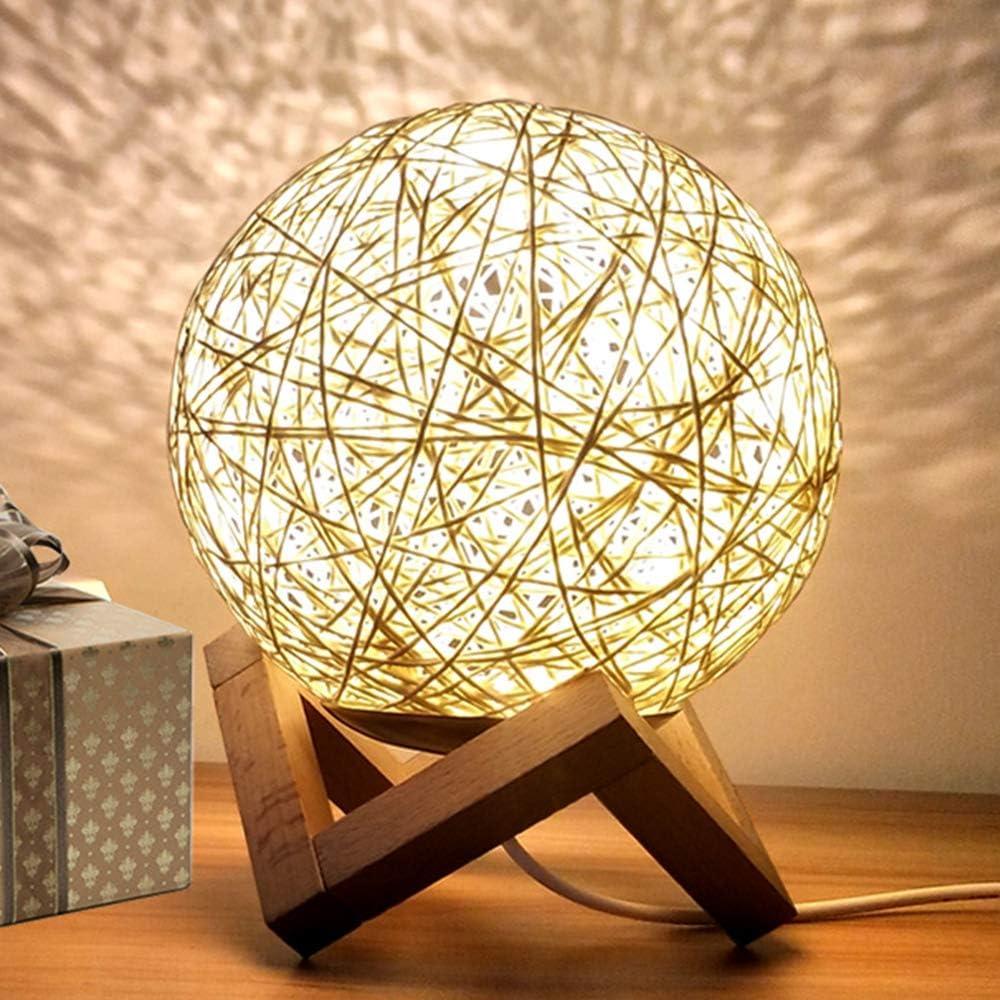 INJUICY Madera Lámpara Escritorio, Antiguo Rota Lámpara de Mesa de Luz del Escritorio Lámpara de Mesilla Noche para Cafe Bar (Amarillo, Interruptor de Pulsador)