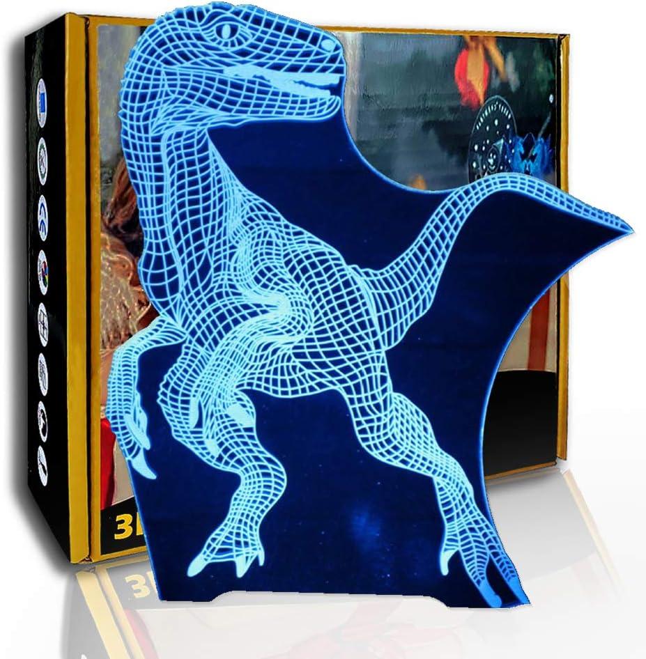 JINYI Dragón de espinas de dinosaurio con luz nocturna 3D, lámpara de ilusión LED para niños, F- Base de audio Bluetooth (5 colores), Regalo de San Valentín, Lámpara de ilusión óptica