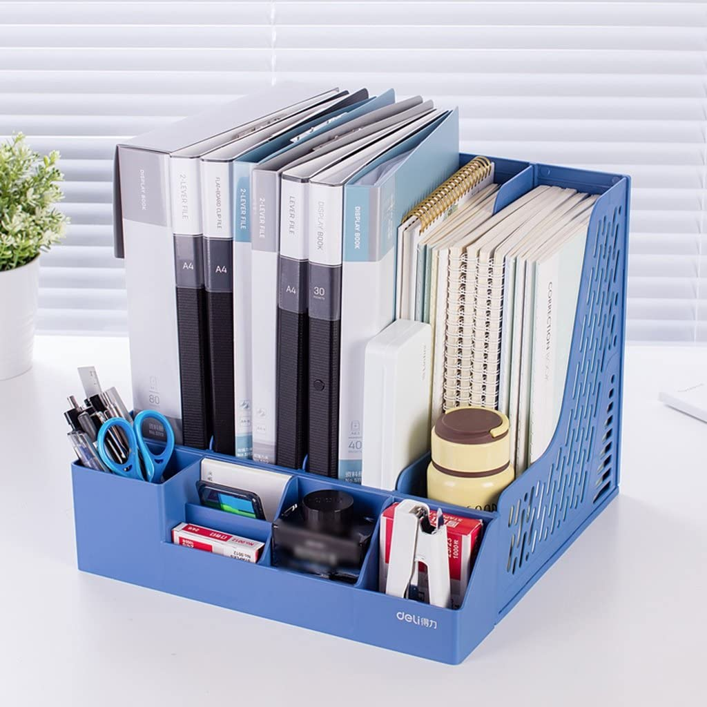 Color : Gray office supplies file box quadruple file holder desktop data holder with pen holder MIAORUIQIN Book stand