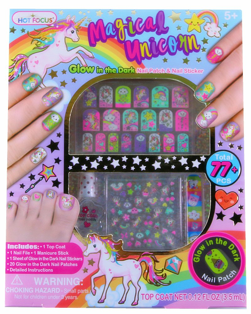 Hot Focus 77+ Rainbow Unicorn Glow in the Dark Kids Nail Art Kit–Nail Polish, Nail File, Glow in the Dark Stickers and Patches and Manicure Stick-Perfect Manicure Pedicure Birthday Girl Gift Idea