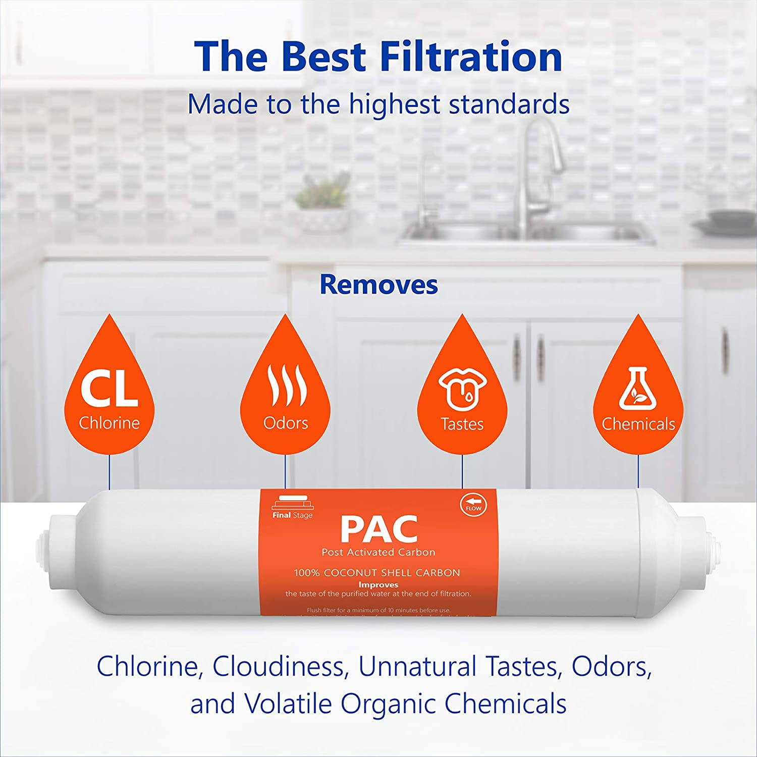 Under Sink and Reverse Osmosis System 5 Micron 2 Pack Post Activated Carbon Water Filter Replacement 10 Inch Express Water