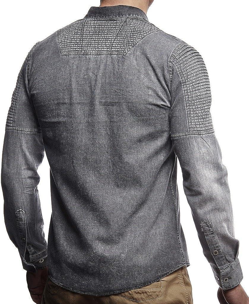 Leif Nelson Camicia di Jeans da Uomo Maniche Lunga Slim Fit LN-3375