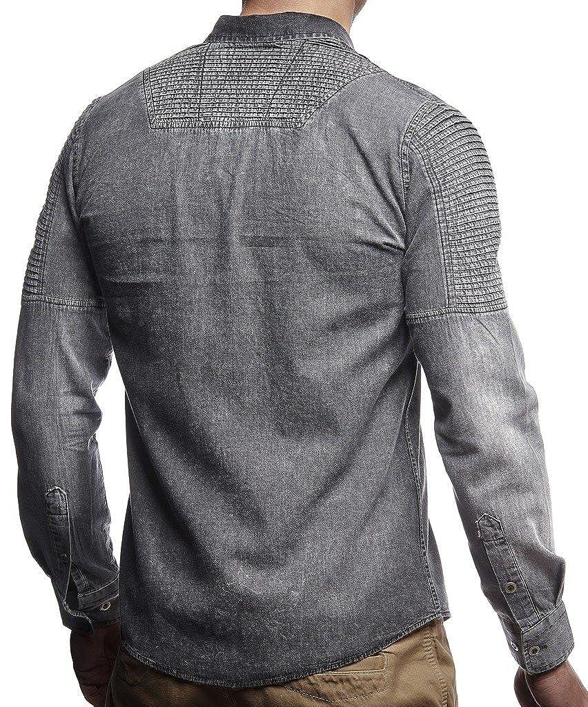0f0dce808f0d2 LEIF NELSON Herren Jeans Hemd Freizeithemd Biker Jacke Weste Destroyed  Verwaschen Vintage Langarm Kurzarm LN3375: Amazon.de: Bekleidung
