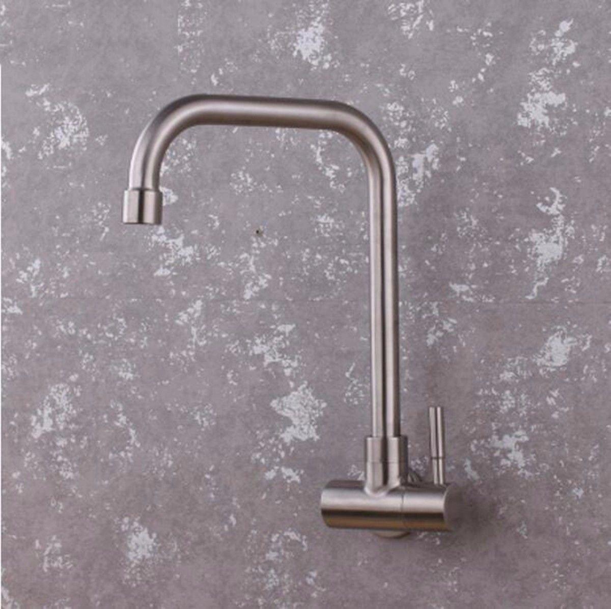 ETERNAL QUALITY Badezimmer Waschbecken Wasserhahn Messing Hahn Waschraum Mischer Mischbatterie Tippen Sie auf 304 Edelstahl Erkältung IN DER Wand MONTIERT Küche Wasserhah