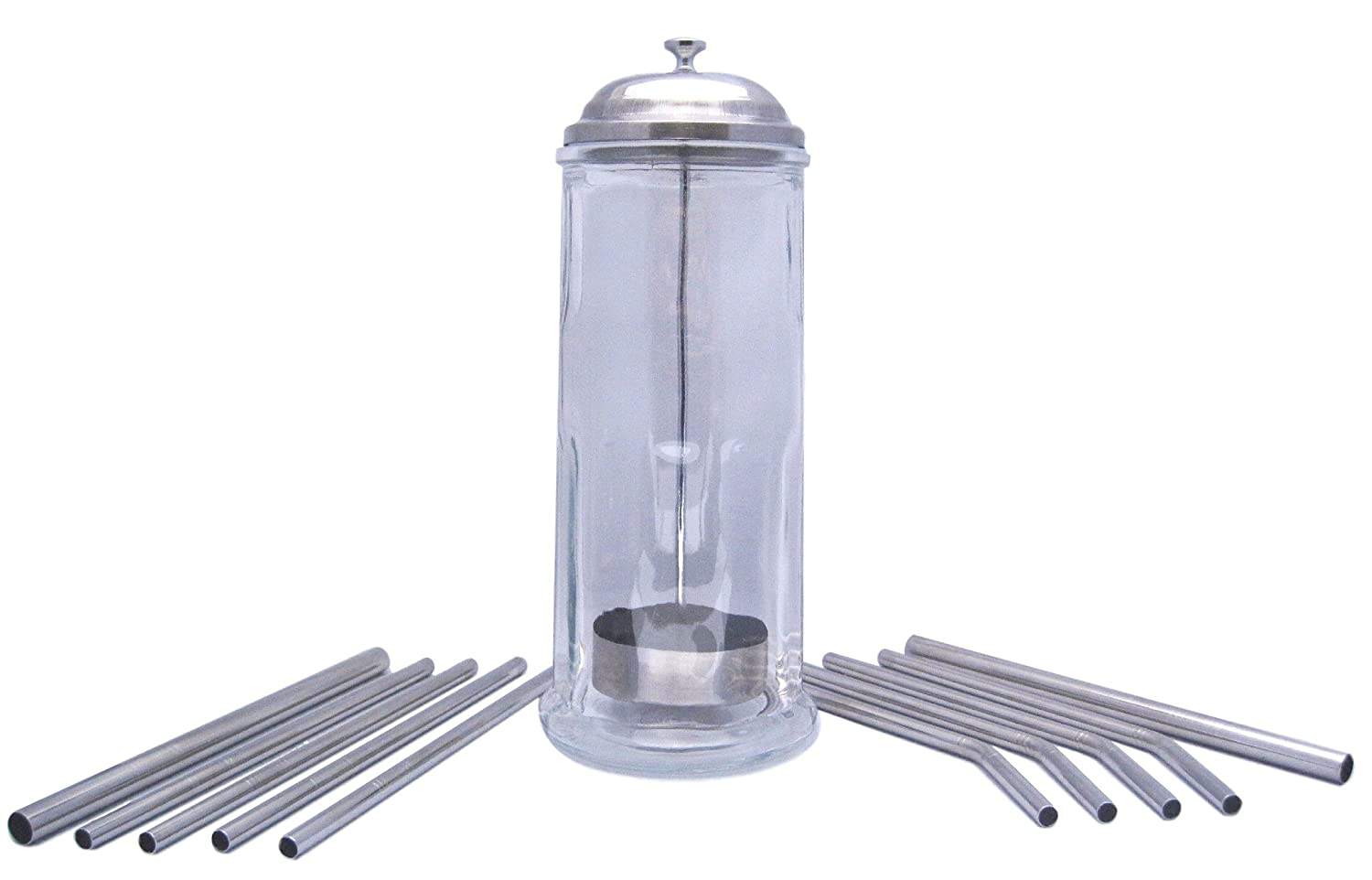 Glass Straw Holder WITH Stainless Steel Straws by plumwood & vine (Stainless Steel, 10 straw set) COMINHKPR141793
