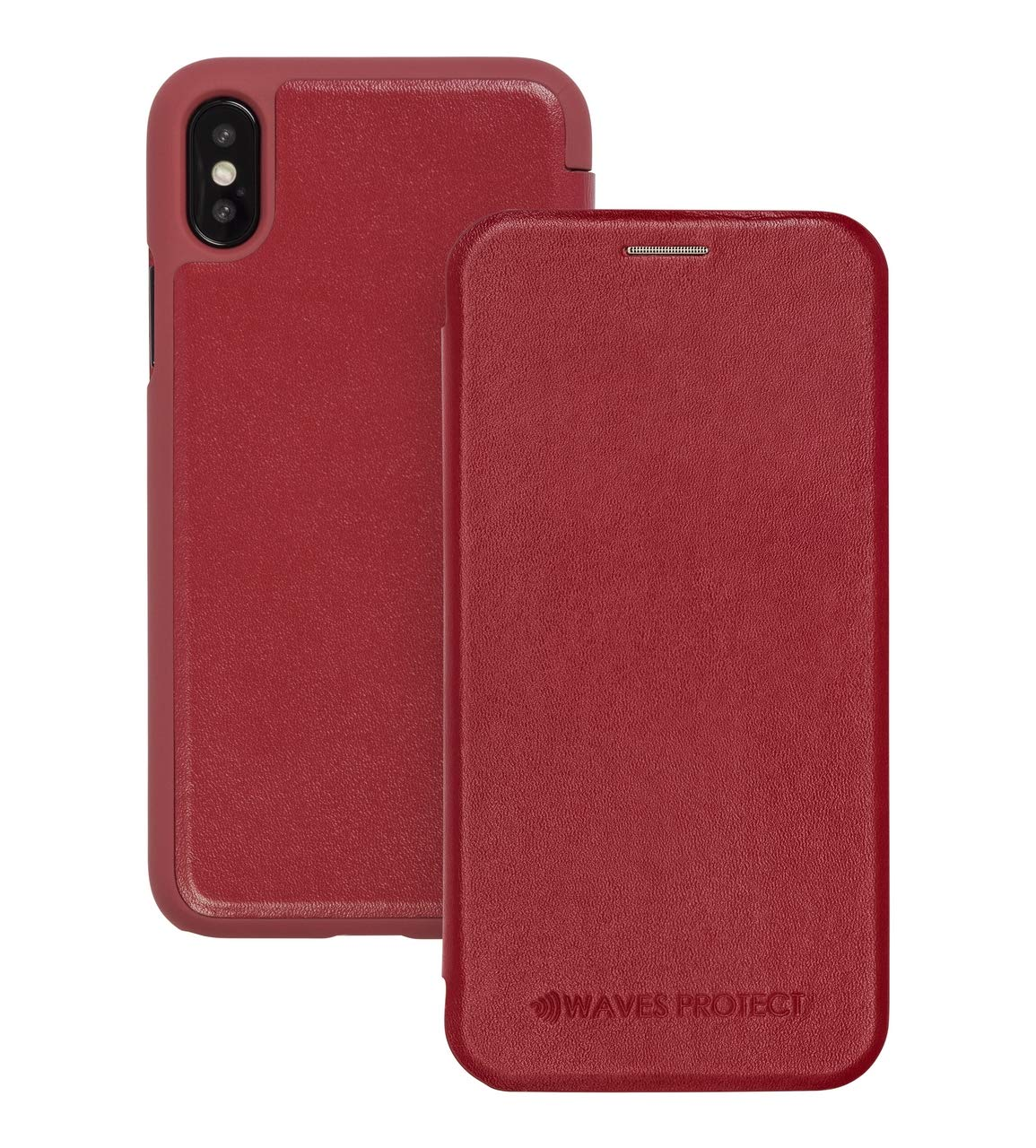 iPhone Xs Max Case Premium Leather Flip Wallet Cell Phone Cover Certified Anti-Radiation Protection