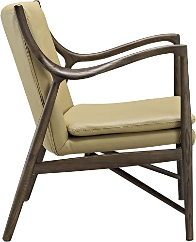Modway Makeshift Leather Lounge Chair in Walnut Tan