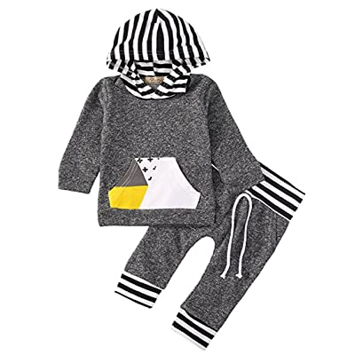 2pcs Toddler Baby Boys Gray Clothing Sets Long Sleeve Hooded Tops with Pocket + Leggings Pants Outfits