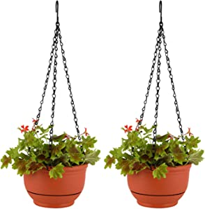 T4U Plastic Hanging Planter Self Watering Basket with Detachable Base 7 Inch Red Set of 2 - Round Hanging Flower Plant Pot Deep Reservoir Container Box for House Plants Home Garden Decoration