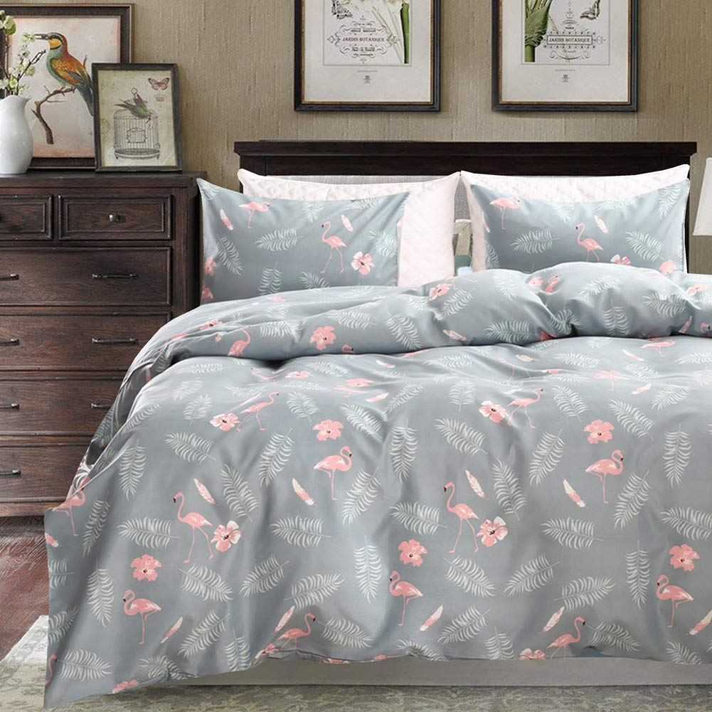 Flamingo Duvet Cover Set Twin Size, Flower Leaf Feather and Flamingo Pattern Printed Bedding Set with Zipper Closure for Kids, Girls, Female, Lady, Bedroom Decoration (Colorful 6, Twin)