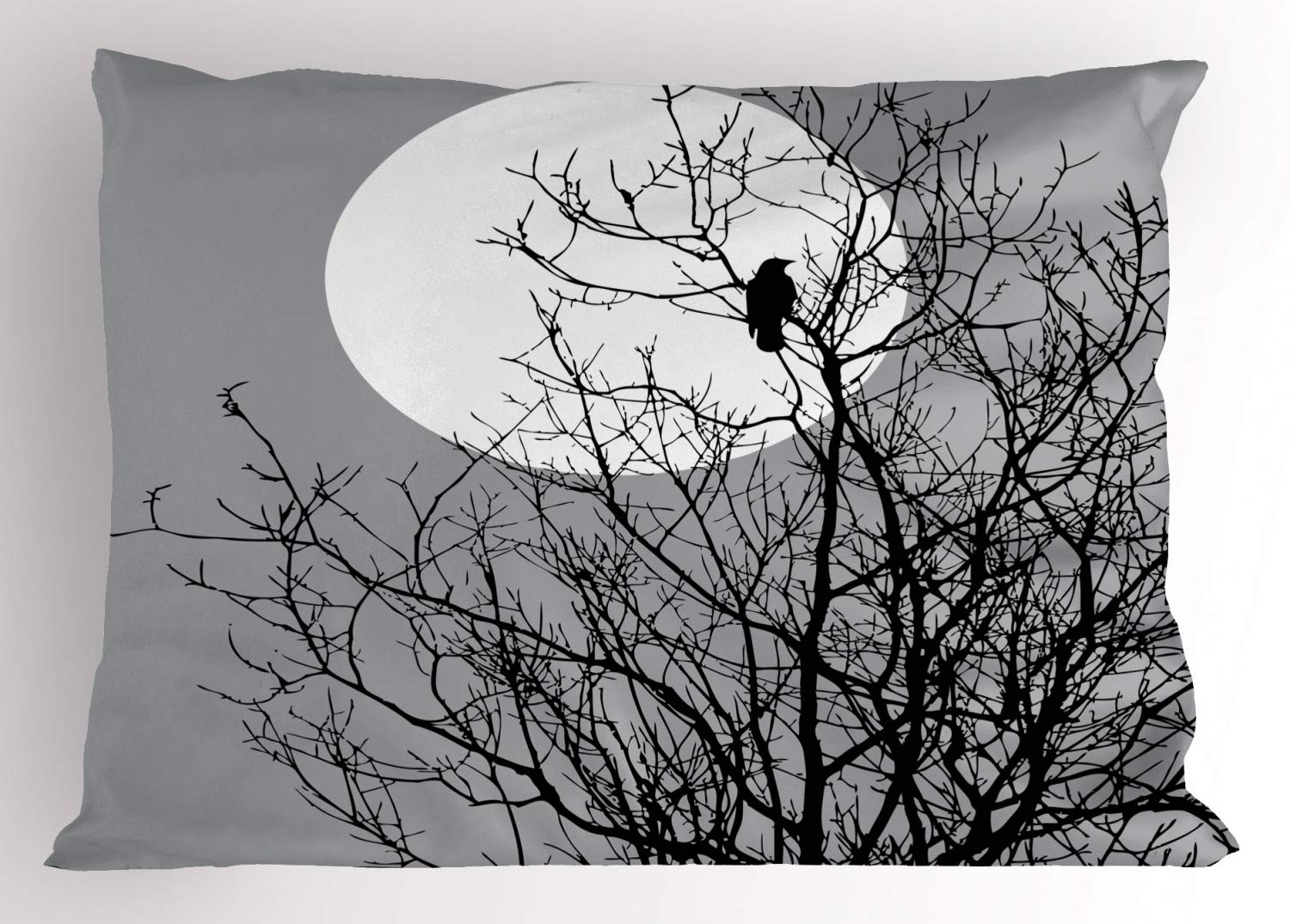 Grey Black 30 X 20 Crow Sitting on Leafless Tree Branches Against Full Moon Sky Illustration Decorative Standard Queen Size Printed Pillowcase Lunarable Crow Pillow Sham