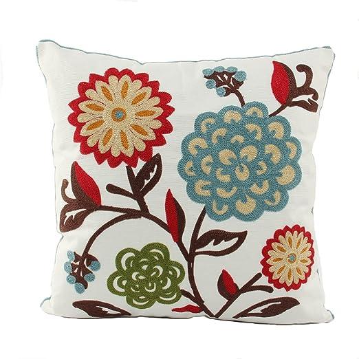 Joielavie Funda de Cojín Bordado Multi Flor Floral Rama Multicolor Estilo Chino Bordado Confortable Funda de Almohada Cama sofá Oficina Coche ...
