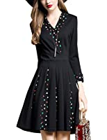 DanMunier Women's 3/4 Sleeve V-Neck Cocktail Party Dress With Pocket #7967