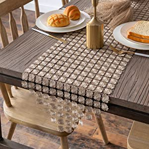 Valea Home Table Runners 14 x 108 Inch Sparkle Gold Clover Table Runner for Dining Room Dresser Wedding Bridal Shower Party Decorations, Gold