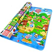 StillCool Baby Play Mat,79x71inches Extra Large Baby Crawling Play Mat Floor Play Mat Game Mat,0.2-Inch Thick (Large, Happy Farm)