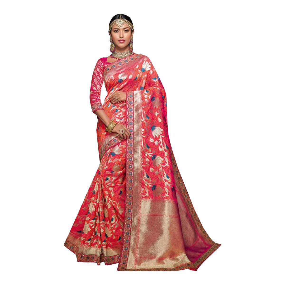 BOLLYWOOD DESIGNER SILK SAREE SARI BLOUSE WEDDING CEREMONY PARTY INDIAN WOMEN 341