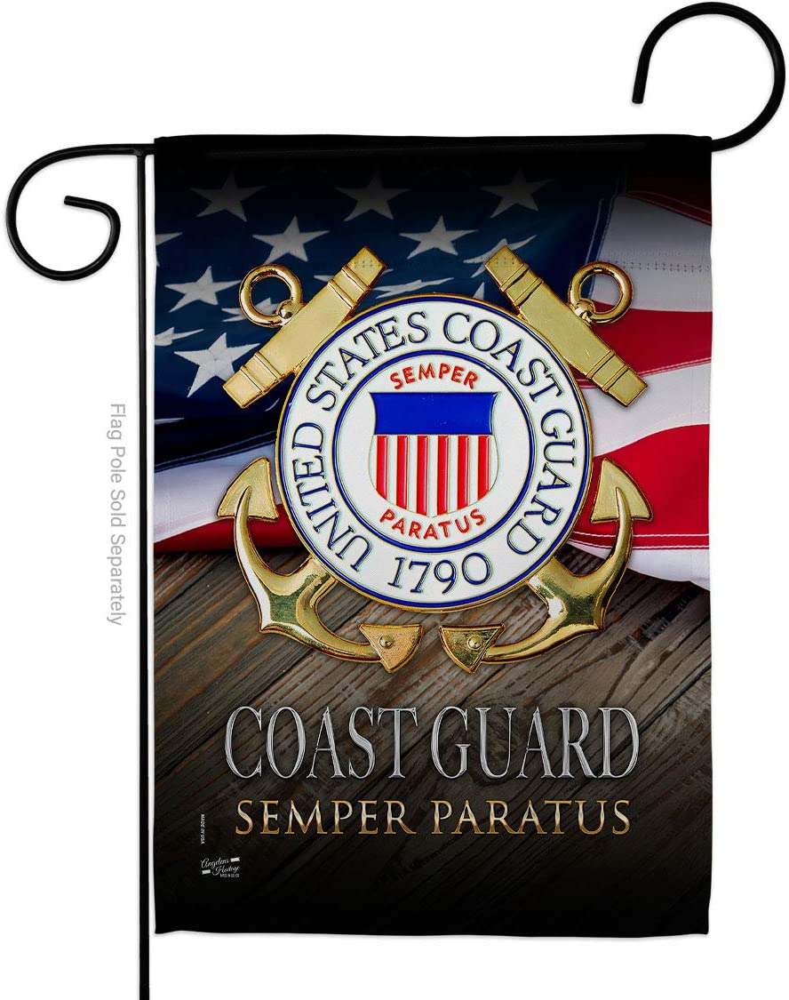 US Coast Guard Semper Paratus Garden Flag - Armed Forces USCG United State American Military Veteran Retire Official - House Decoration Banner Small Yard Gift Double-Sided Made in USA 13 X 18.5