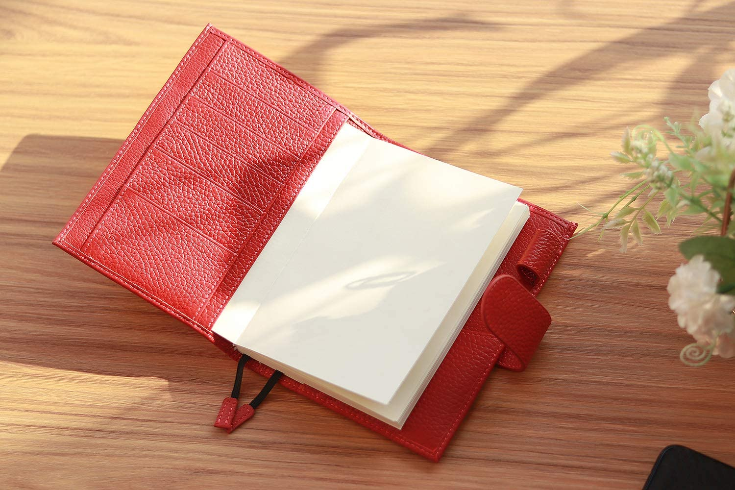 Stalogy A6 Notebook Cover with Pen Loop Moterm Leather Cover for A6 Hobonichi with Card Slots and Back Pockets A6, Red Leather Midori MD