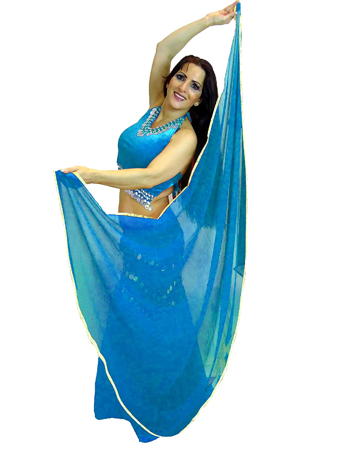 Dancers World Silver Trimmed SEMI Circle Veils Belly Dance Costume Veil Wrap Scarf (Royal Blue)