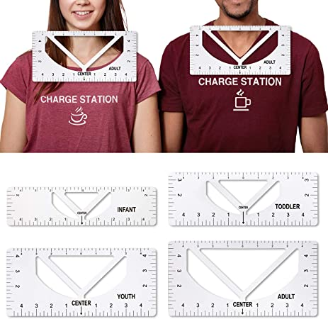 New Upgrade 2 in 1 Tshirt Ruler Guide for Vinyl, Crew Neck and V Neck Tshirt Alignment Tool for Vinyl and Htv Heat Press Transfer Graphic Placement (Crew Neck and V Neck)