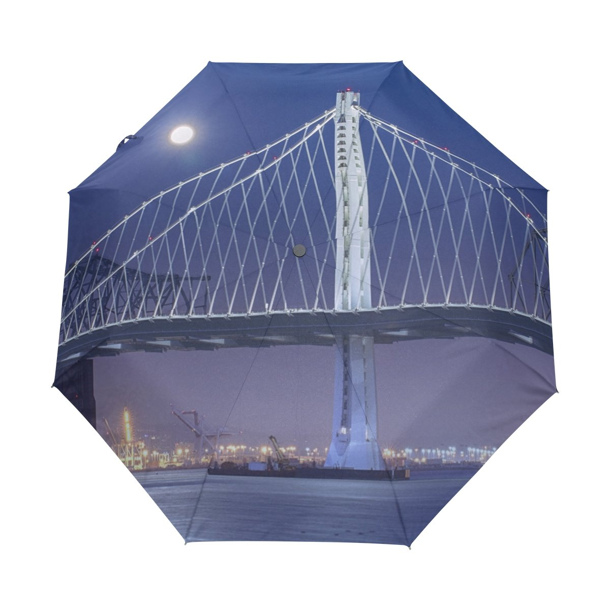 Senya Saobao防風と防雨トラベル傘with自動開いて閉じFolding Bay Bridge at Night with Full Moonポータブル折りたたみ式太陽雨傘 B07FF145WT
