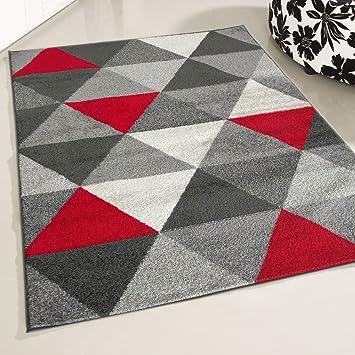 Mynes Home Teppich Kurzflor Rot Jugendzimmer Skandi Skandinavisches Design  Modern Kurzflorteppich Moderner Designerteppich (120 X