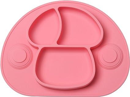 Tovaglietta in Silicone Bambini Piatto con Ventosa e Coperchio Antiscivolo Mini Tovaglietta Bambini per Seggiolone e Viaggi