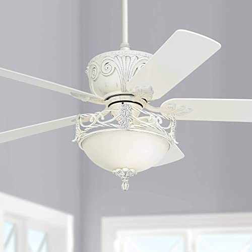 52 Casa Deville Vintage Chic Ceiling Fan with Light LED Dimmable Distressed Antique Rubbed White Bowl Glass for Living Room Kitchen Bedroom Family Dining – Casa Vieja