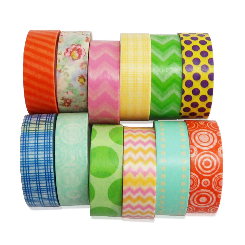 12 Rollos Cinta Adhesiva De Colores