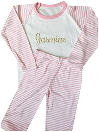 2faabda08e Little Secrets Childrens Clothing Girls Personalised Name Pink and White  Striped Pyjamas  Amazon.co.uk  Clothing