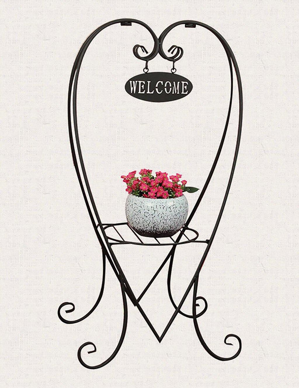 XUEWENZHE Blumenständer Kreative Eisen Herzförmige Blume Rack Boden Typ Multilayer Balkon Blumenregal Wohnzimmer Indoor Flower Rack Verschiedene Gartenregal