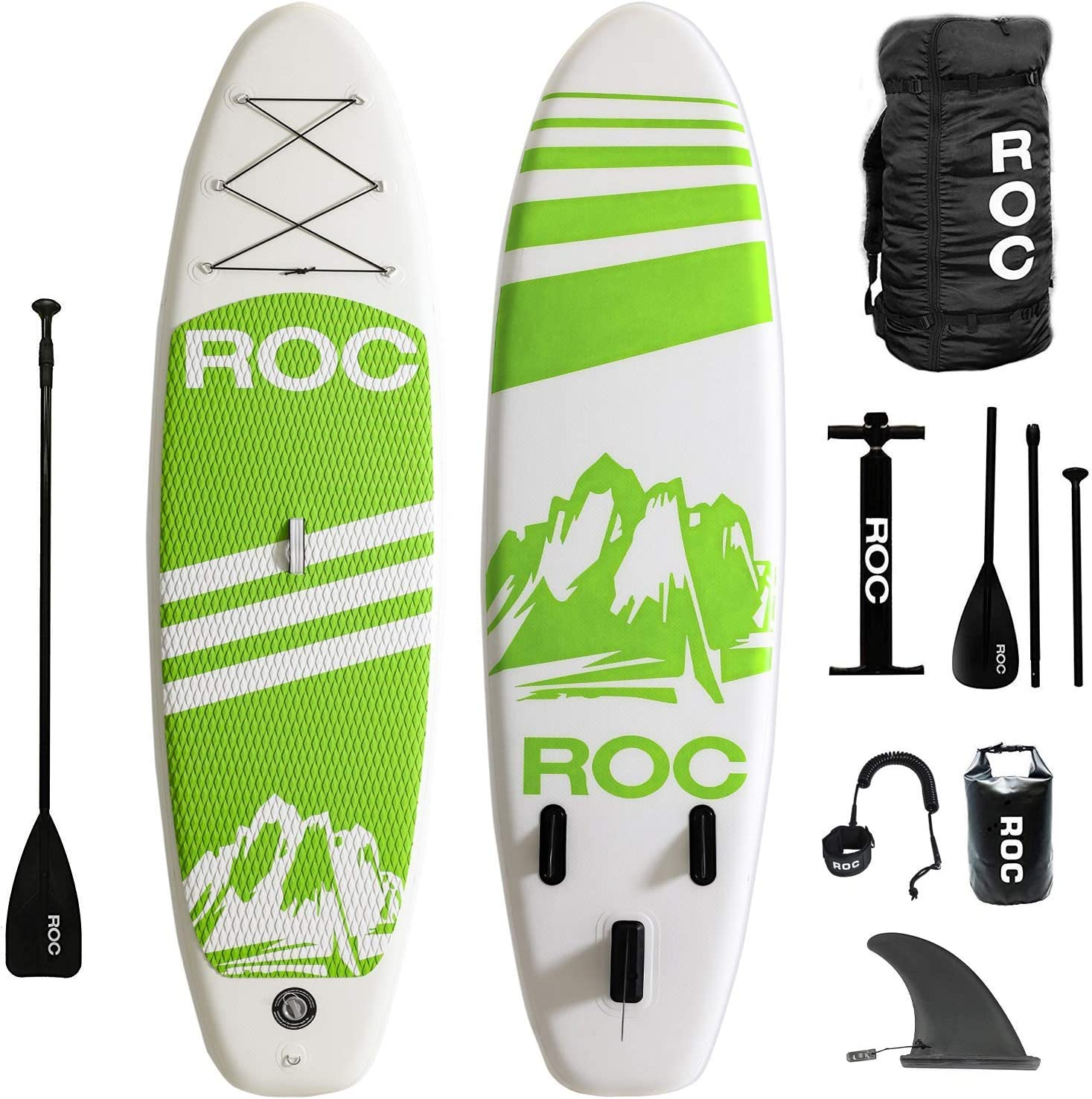 Roc Inflatable Stand Up Paddle Boards W Free Premium SUP Accessories Backpack, Non-Slip Deck Bonus Waterproof Bag, Leash, Paddle and Hand Pump Youth Adult Renewed