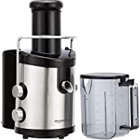 AmazonBasics Wide-Mouth, 2-Speed Centrifugal Juicer with Juice Jug and Pulp Container, Stainless Steel