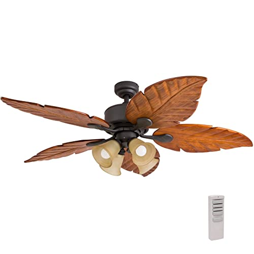 Prominence Home 41301 Bali Breeze Ceiling Fan with Remote Control, Artisan Hand-Carved Wooden Blades, Tropical Style, 52 , Bronze