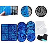 walmeck 13Pcs Nail Art Stamping Kit Nail Plates Lace Rose Flower Forest Image Nail Design With 2 Stamper Scraper for DIY Home Nail Art Tools