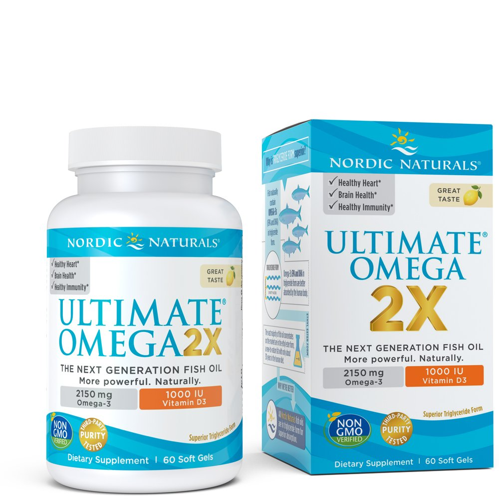 Ultimate Omega 2X Vitamin D3 - Nordic Naturals Supplement with 2150 mg Omega-3s and 1000 IU of Vitamin D, Support for Heart, Brain, Immune and Bone Health, 60 Soft Gels